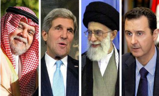 From left to right: Saudi (Sunni) Prince Bandar bin Sultan; US Sec of State, John Kerry; Iran (Shia) Ayatollah Ali Khamenei; Syrian (Alawite Shia) President Bashar al-Assad