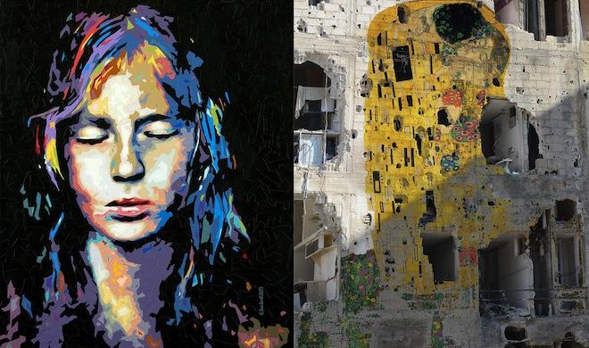 "Syrian Artists Tammam Azzam's ""Freedom Graffiti"" and Elias Izoli's "" drawing."