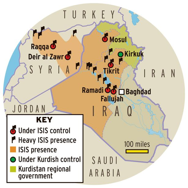 ISIS IS NO LONGER IN CONTROL OF TIKRIT, SINJAR AND RAMADI.