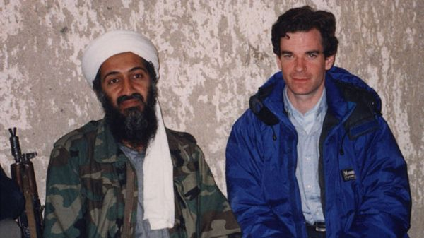 Osama Bin Laden with journalist Peter Bergen