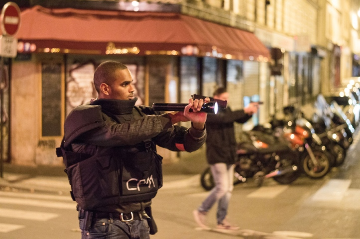 Paris, France. 14th November 2015 -- Lot of tension was around everytime someone was running or biking around. --