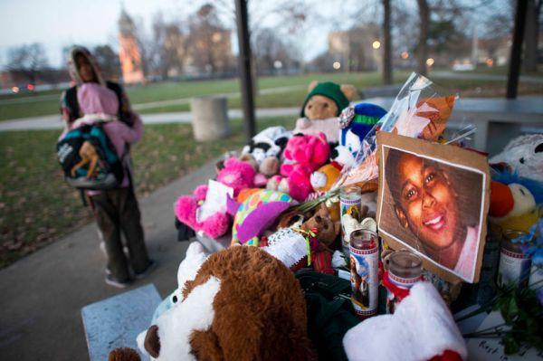 Memorial in the Cleveland park where Tamir Rice was fatally shot by police officers who mistook the 12 year old's toy gun for a real gun, Dec. 4, 2014. The Justice Department announced on Thursday that a two-year investigation found a pattern of unreasonable and unnecessary use of force by police in Cleveland. (Ty Wright/The New York Times)