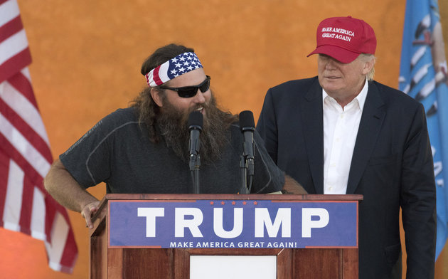 Television personality Willie Robertson speaks on behalf of Republican presidential candidate Donald Trump during a campaign rally at the Oklahoma State Fair, Friday, Sept. 25, 2015, in Oklahoma City. (AP Photo/J Pat Carter)