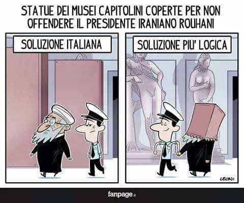 Italian cartoon making fun of covering nude statutes