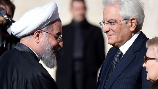 Iran-image-copyright-Getty-Hassan-Rouhani-left-was-welcomed-by-Italian-President-Sergio-Mattarella_