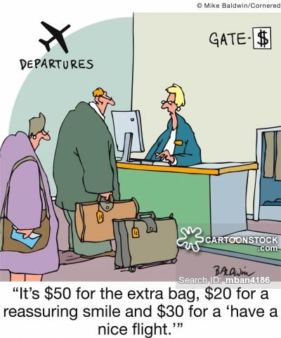 'It's $50 for the extra bag, $20 for a reassuring smile and $30 for a 'have a nice flight.''