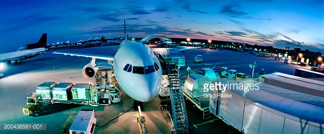 Airline being loaded with cargo