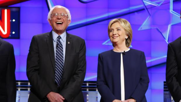 U.S. Democratic presidential candidates Senator Bernie Sanders and former Secretary of State Hillary Clinton