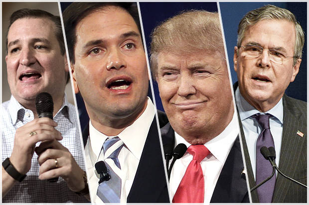 Senators Ted Cruz, Marco Rubio, Donald Trump and Jeb Bush
