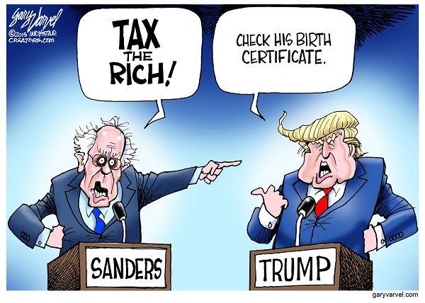 Cartoonist Gary Varvel: A Bernie Sanders, Donald Trump debate