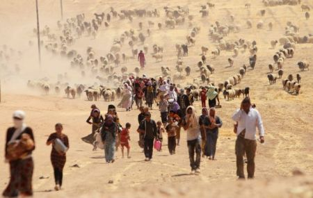 ISIS Displaced people from the minority Yazidi sect