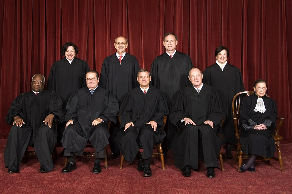 Justice Antonin Scalia, bottom row, second from the left