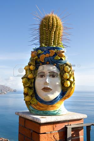 sicily 28331301-sicilian-ceramics-vase-of-caltagirone