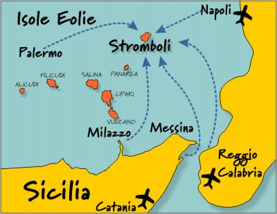 Map of Aeolian Islands