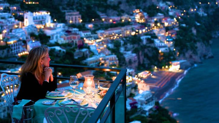 Lights of Positano at night