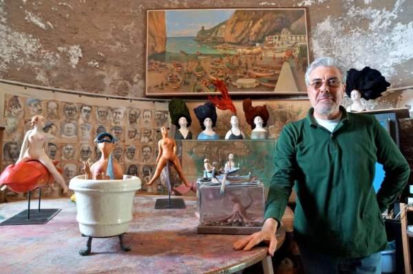 Artist Paolo Sandulli in his watchtower studio