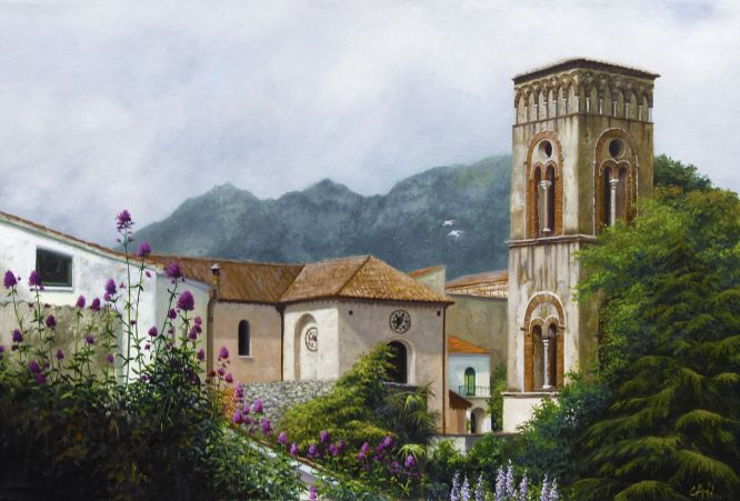 Bell Tower of Church St. Panteleone; painting by Chris Apel