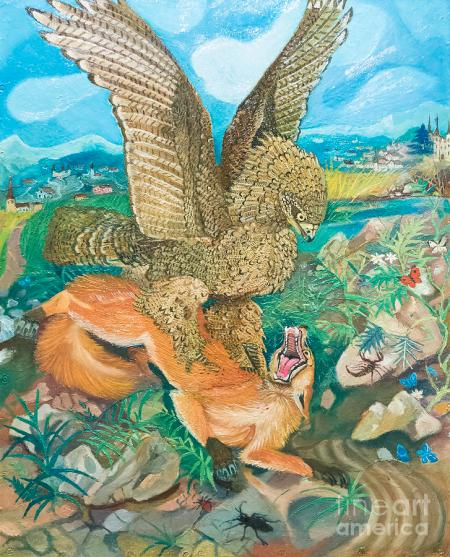 Eagle attacking a fox by Antonio Ligabue