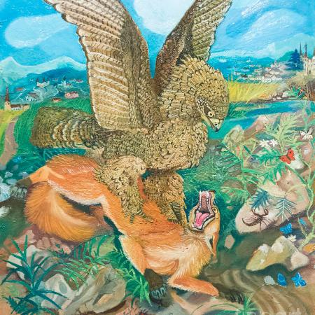 Eagle attacking a fox by Antonio Ligabue
