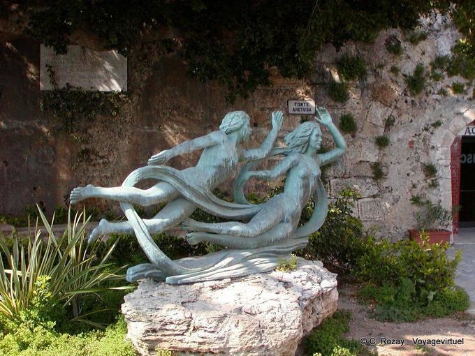 Sculpture at Fonte Aretusa OLYMPUS DIGITAL CAMERA