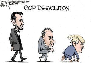 Excelente caricatura en la cual el autor muestra la devaluación del GOP (Partido Republicano), de Lincoln, su fundador, a Nixon y Trump.