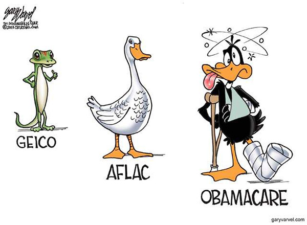 OBAMACARE GREAT CARTOON USE Geico-Aflac-Obamacare