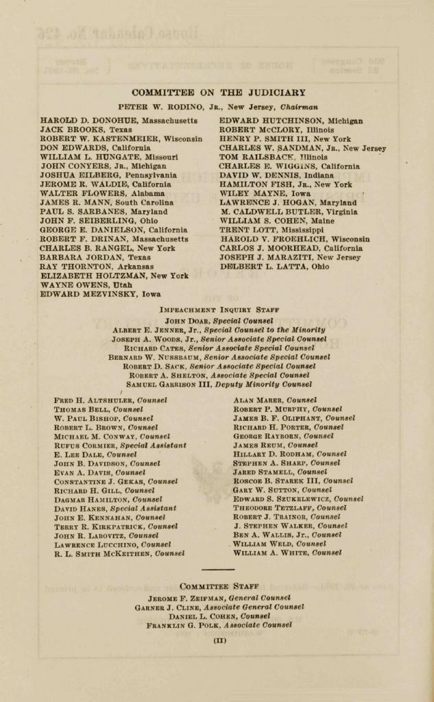 List of Watergate Staff