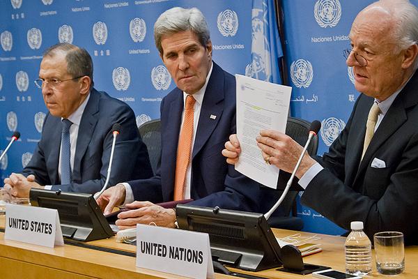 From L TO R, Sergie Lavrov from Russia, John Kerry, U.N. Envoy, Staffan de Mistura