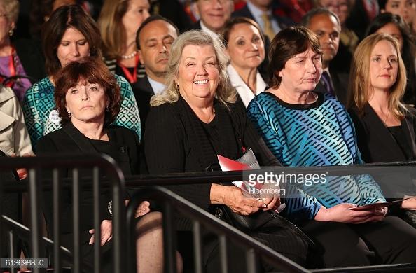 Kathleen Willey, from left, Juanita Broaddrick, and Kathy Shelton sit Photographer: Daniel Acker/Bloomberg