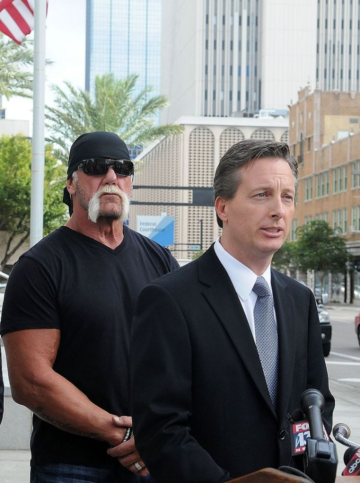 Hogan (L) and his attorney Charles Harder (Photo by Gerardo Mora/Getty Images)