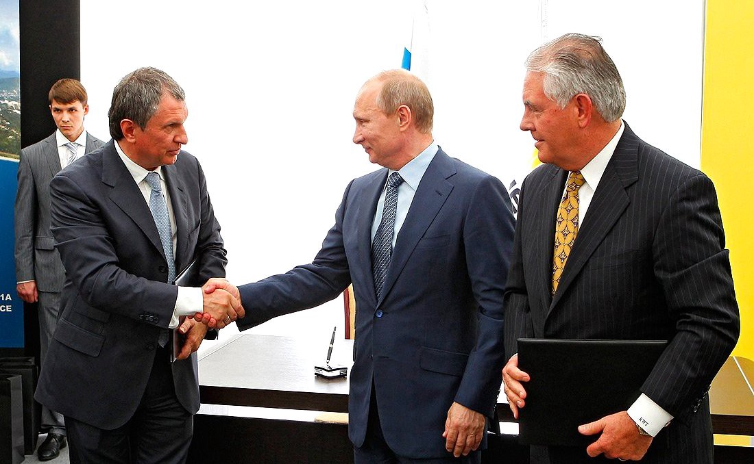 Image result for photo of tillerson with putin and sechin