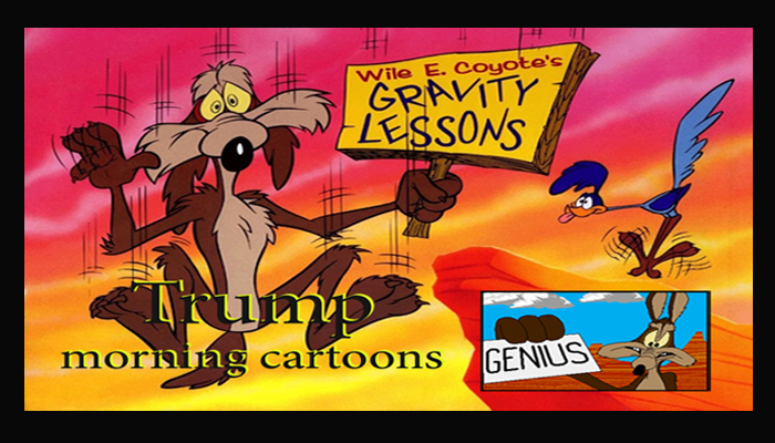 Image result for cartoon of president trump as Wile E. Coyote.""