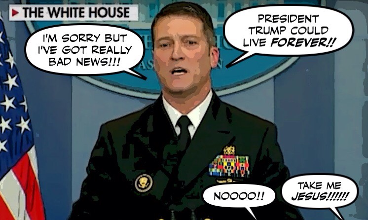 Image result for cartoon of ronny jackson md