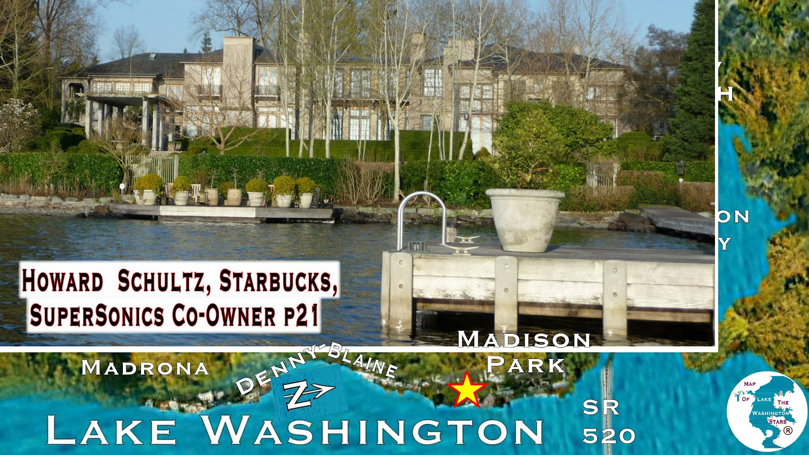 Image result for howard schultz's former home on Lake Washington, near Denny Blaine Park