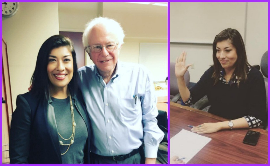 Image result for photos of lucy flores with bernie sanders
