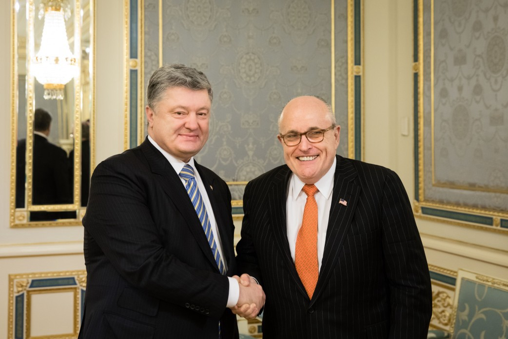 Image result for IMAGES OF RUDY GIULIANI AND President Petro Poroshenko and Prosecutor General Lutsenko,